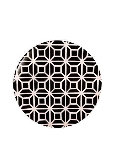 Kitchen World 6'Lı Seramik Dijital Baskı Lüx Büyük Servis Tabak Seti Siyah